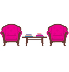 Two chairs and table vector image vector image