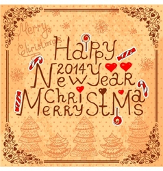 vintage new year card vector image
