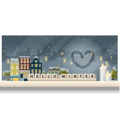 Winter cityscape background vector