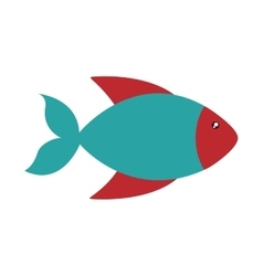 Fish cute animal sea little icon vector