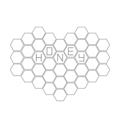 Honeycomb set in shape of heart beehive element vector