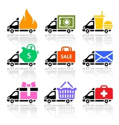 Delivery truck colored icons vector image