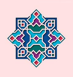 Arabesque pattern vignette in oriental style vector