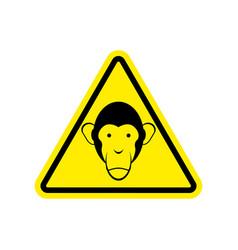 Monkey warning sign yellow primacy of hazard vector