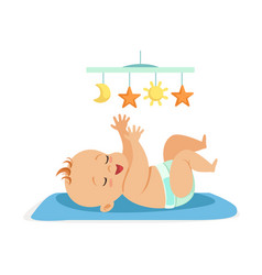 Cute naked baby in a diaper lying in bed and vector