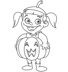Outlined pumpkin kid vector