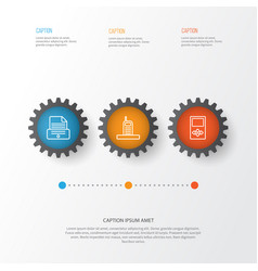 Hardware icons set collection of printer player vector