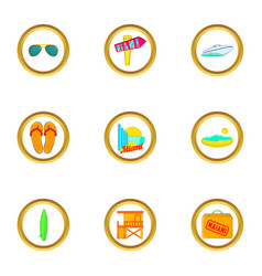 Miami rest icons set cartoon style vector