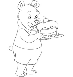 Young bear holding a cake coloring page vector