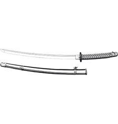Japanese katana and scabbard vector