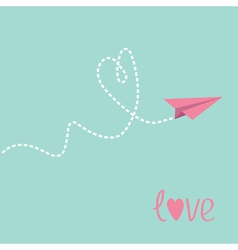 Origami paper plane dash heart in the sky love car vector