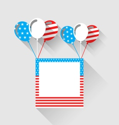 Photo frame and balloons in us national colors vector