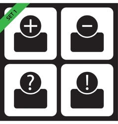 Set of four icons - black bust vector
