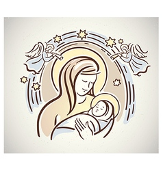 Christmas mary with jesus vector