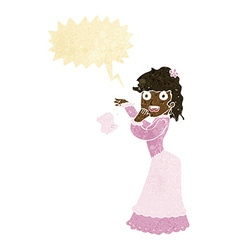 Cartoon victorian woman dropping handkerchief with vector