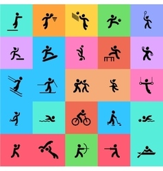 Sports icons set black and color vector
