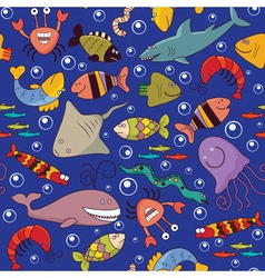 Seamless underwater wildlife vector image