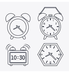 Icon set of silhouette clocks time design vector