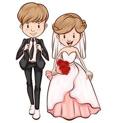 A sketch of a happy couple vector image