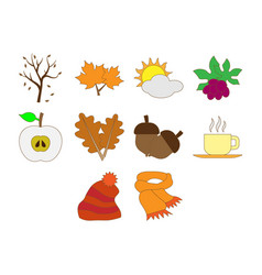 Autumn season icon set vector