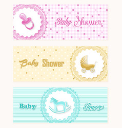 Baby shower banner set design vector