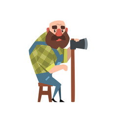 Bald forest man sitting on wooden chair and vector