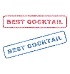 best cocktail textile stamps vector image vector image
