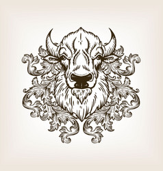 bison head with floral ornament engraving vector image vector image