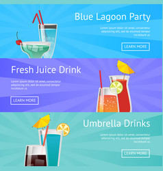 Blue lagoon party fresh juice drinks with umbrella vector