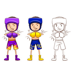 Boxer in three different drawing styles vector