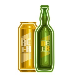 can and bottle beer vector image vector image