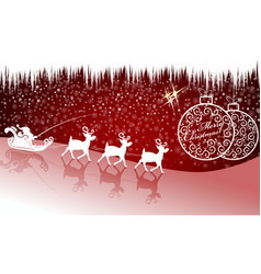 christmas red background with santa claus vector image vector image