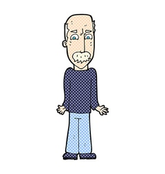 Comic cartoon dad shrugging shoulders vector