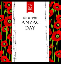 Commemorative anzac card vector