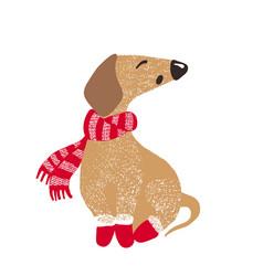 Cute dog symbol of year 2018 vector