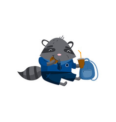 cute funny little raccoon student sitting on the vector image