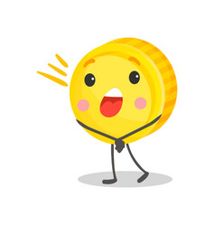 cute golden smiling coin humanized character vector image