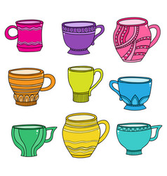 Doodle of cartoon cups for tea coffee on vector