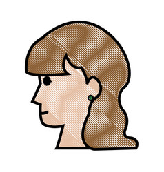 Drawing profile head woman female long hair vector