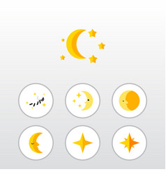 Flat icon night set of moon asterisk lunar and vector