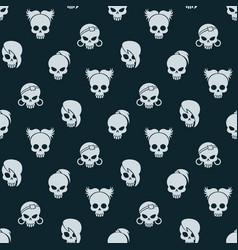 girl skull seamless pattern vector image