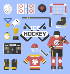 hockey sport icons equipment design vector image