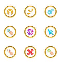 Loading cursor icons set cartoon style vector
