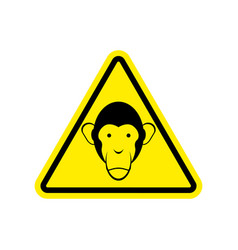 Monkey warning sign yellow primacy of hazard vector