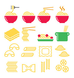 Pasta noodles spaghetti - italian food icons set vector