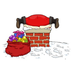 santa stuck in the chimney vector image vector image