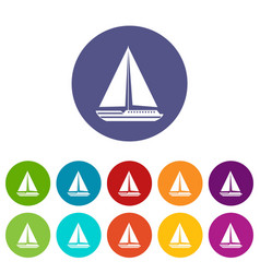 sea yacht set icons vector image vector image