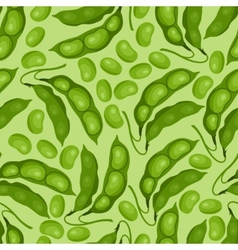 Seamless pattern with fresh ripe bean pods vector image