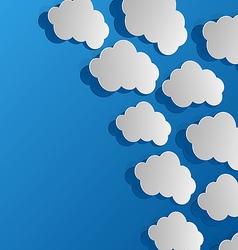 Set cut out clouds blue paper vector