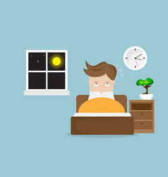 Sleepless man cartoon character on bed in night vector